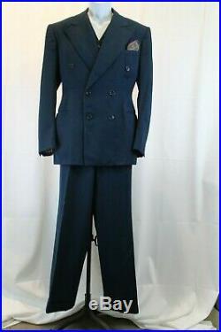 Vintage 1939 Gabardine Suit Double Breast with Vest High Waist Drop Loop Pants