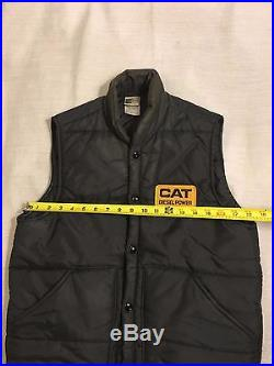 Vintage 1950s CAT Caterpillar Black Nylon Puffer Puffy Vest Size Small Made USA