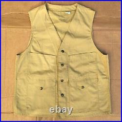 Vintage 1960 CC Filson Tin Cloth Tan Canvas Cruiser Vest Field Hunting 38 L NEW