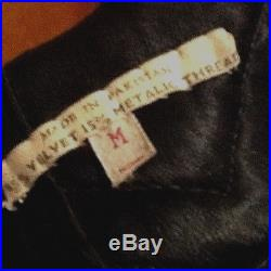 Vintage 1960's Jim Morrison Jimi Hendrix Style Vest Velvet WithMetallic Embroidery