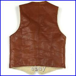 Vintage 1960s 70s LL Bean Brown Leather Shearling Vest Overland Mens Large