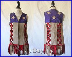 Vintage 1960s American Flag Suede Vest Easy Rider Motorcycle Americana Hippie