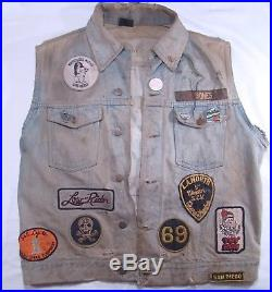 Vintage 1970s Fifth Chapter MC Manhattan Beach LA Motorcycle Club Denim Vest