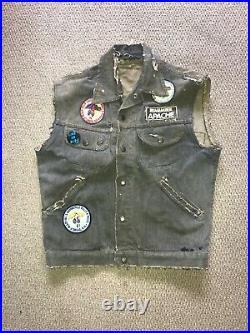 Vintage 1970s GWG Denim Biker Vest with Original Harley Davidson BMW Patch