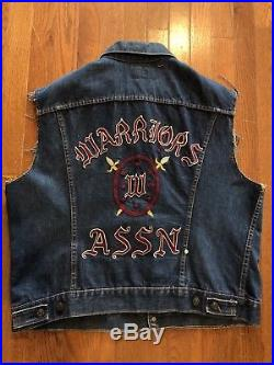 Vintage 1970s Motorcycle Club Vest Warriors Assn Levis Denim Chain Stitch