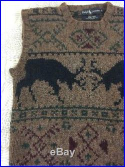 Vintage 1990's POLO Ralph Lauren Nordic Deer Fair Isle Hand Knit Sweater Vest S