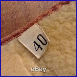 Vintage 30s Mid-Western Sport Togs Sheepskin Workwear Vest 40 Grommet Zipper