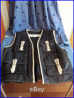 Vintage 34th Street Leather Shooting Fishing Style Leather Vest XXL Black white