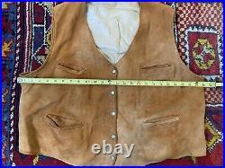 Vintage 40s 50s VEST Leather Buckle Back Snap Tan Western Soft Hyde Sz L