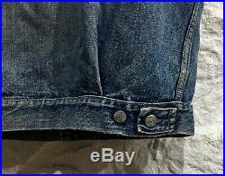 Vintage 50's Levi's Capital Big E Selvedge Type 2 Denim Distressed Jacket Vest