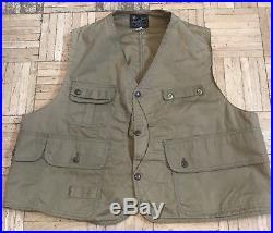 Vintage 50s Hettrick American Field Half-Moon Canvas Hunting Vest 46/48
