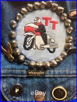 Vintage 60s Wrangler Cut-off Denim Biker Jacket Punk Studded Patches Badges Vest