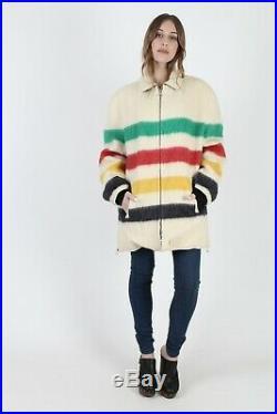 Vintage 70s Hudsons Bay Jacket Point Blanket Striped Wool Parka Mens Winter Coat