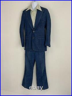 Vintage 70s Lee Denim 3 Piece Suit Jacket Vest 40 Jeans 34 USA Made 34 Blue Jean