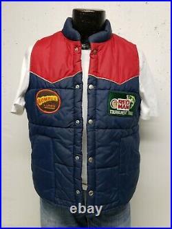 Vintage 80's Tournament Fishing Puffer Vest Men's Medium Bomber Lures/Red Man