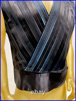 Vintage 80s GIANNI VERSACE tuxedo Formal Vest Silk Metallic Blue Size 48