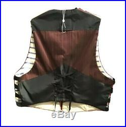 Vintage 80s Jean Paul Gaultier Men Corset Back Silk Stripes Made In Italy Vest