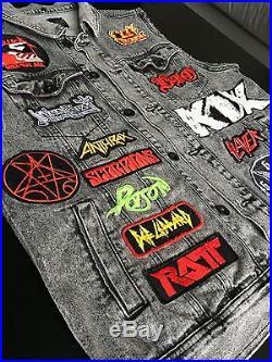 Vintage 80s Rock Battle Vest Jean Jacket Patches