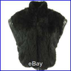 Vintage 90s Nappa Leather Fur Reversible Vest L Black Lamb Opossum