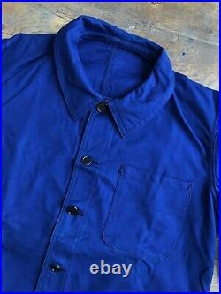 Vintage Ancienne French Bleu de Travail Work Chore Jacket Folk Indigo Veste NOS