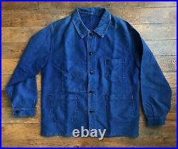 Vintage Ancienne French Moleskine Bleu de Travail Work Jacket Chore Cotton Veste