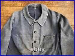 Vintage Ancienne French Moleskine Bleu de Travail Work Jacket Chore Sanfor Veste