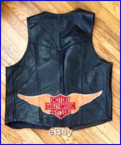 Vintage Biker Vest Harley Davidson Outlaw 1% Mc Leather Medium