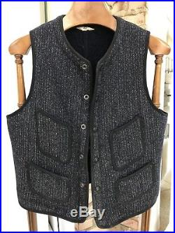 Vintage Browns Beach Jacket Workwear Vest sz 42 Navy Blue Excellent Condition