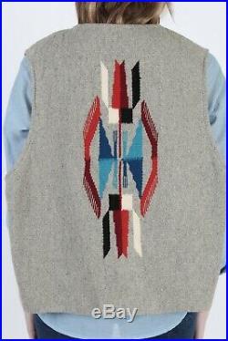 Vintage Chimayo Vest Mens Native American Southwestern Wool Blanket Hand Woven