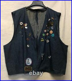Vintage Denim Idaho MC Biker Vest, size XL, With Many 1980s 90s MC Ride Pins