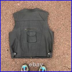 Vintage Excelled Genuine Leather Biker Cargo Military Vest USA Size EXTRA LARGE