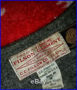 Vintage Filson Wool Vest 100% Virgin Wool Style 20 Size 48 Mackinaw Winter Coat