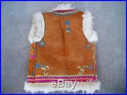 Vintage GOAT FUR & Leather Mountain Man Rustic Men's Vest Sherpa Jacket Size S