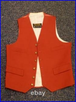 Vintage Gents Belvoir Phillips & Piper Red Wool Waistcoat 38 Chest
