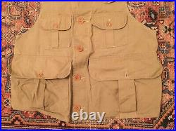 Vintage Genuine LL Bean Inc 1930's Twill Hunting Outdoors Vest, Medium Collector