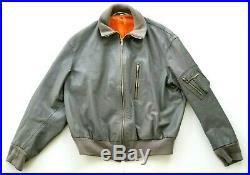 Vintage German Nikator Police Military Motorcycle Gray Leather Bomber Jacket