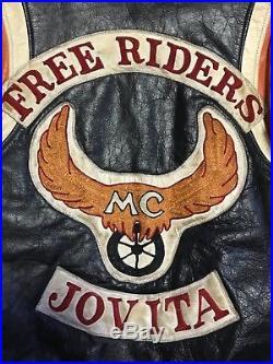 Vintage HARLEY DAVIDSON leather jacket mc patches motorcycle club vest Biker