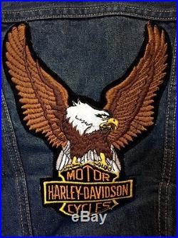 Vintage Harley Davidson Patch Motorcycle Wrangler Blue