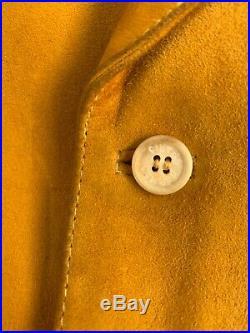 Vintage Hermes Paris Suede Silk Suit Vest Golden Yellow Pattern 48