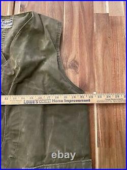 Vintage Hinson Bodyguard Duck Hunting Vest Garments 40s Canvas Fishing Green VTG