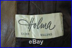 Vintage Holma 1960's Swedish Goatskin Leather Motorcycle Safari Jacket 42R M