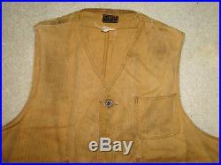 Vintage L. L. BEAN Brown HBT Herringbone HUNTING VEST Jacket Sz XXL
