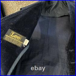 Vintage LEE 70's Men's Suit Corduroy Suede Navy Blue Disco Coat Pants Vest