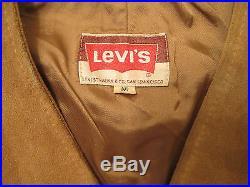 Vintage LEVIS mens SUEDE leather black tag biker western VEST M