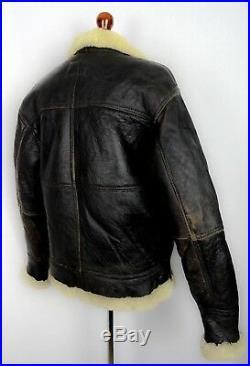 Vintage Leather B-3 Bomber Jacket Sheepskin Shearling Flying Pilot Aviator Coat