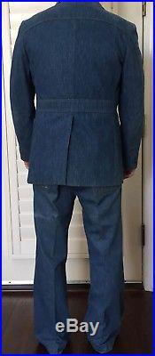 Vintage Levi's Panatela denim 70s 3 piece suit retro flare bottoms vest blazer40
