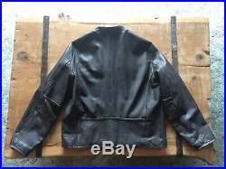 Vintage Levis Cafe Racer Leather Jacket Mens Large Black Distressed Leather