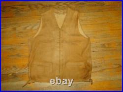Vintage McGregor Brown leather Jacket vest Talon Grommet Zipper RARE! 1930s Sz M