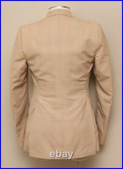 Vintage Mens 34R Custom Tan Check Suit Vest and Jacket Set