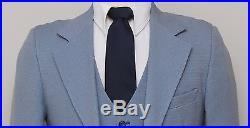 Vintage Mens 38R Century Club 3 Piece Blue Check Suit with Reversible Vest
